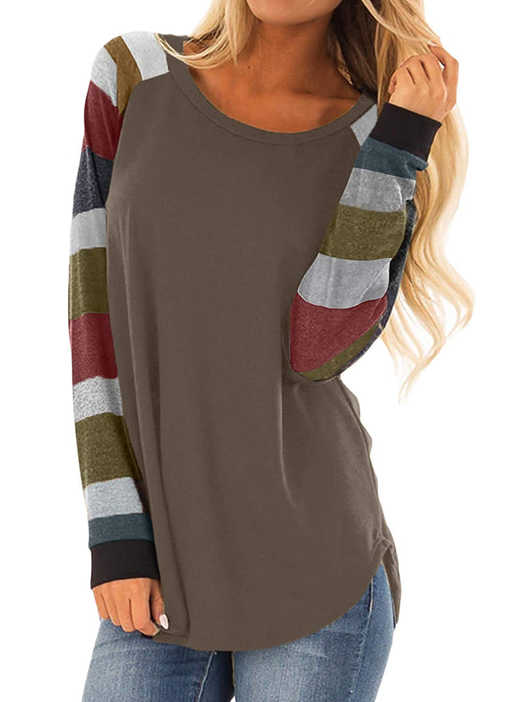 Womens Casual Color Block Long Sleeve Pullover Tops Loose Lightweight Tunic Shirt