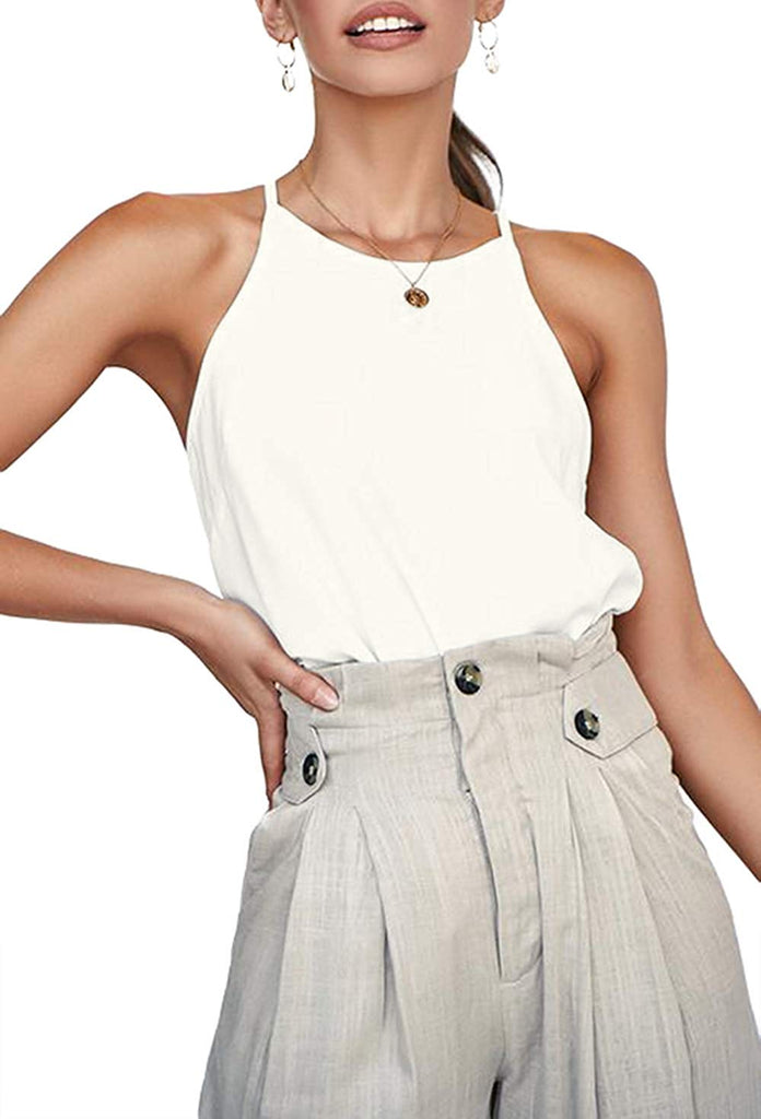 Women's Tops Sleeveless Halter Racerback Summer Basic Tee Shirts Cami Tank Tops Beach Blouses