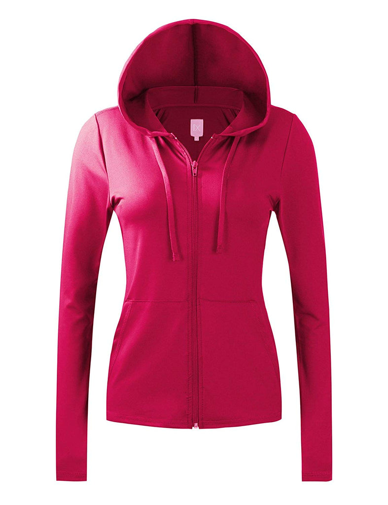 Women's Active Lightweight Full-Zip Hooded Jacket (28 Colors, S-3X)