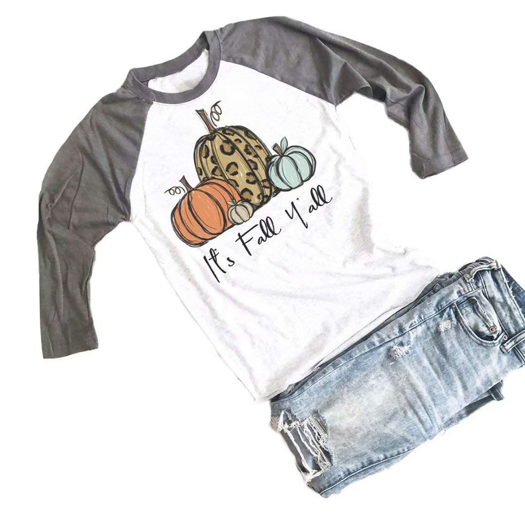 Its Fall Yall Halloween Cute T Shirt Women Leopard Pumpkin Graphic Shirts Fall Casual 3/4 Sleeve Raglan Tees Tops