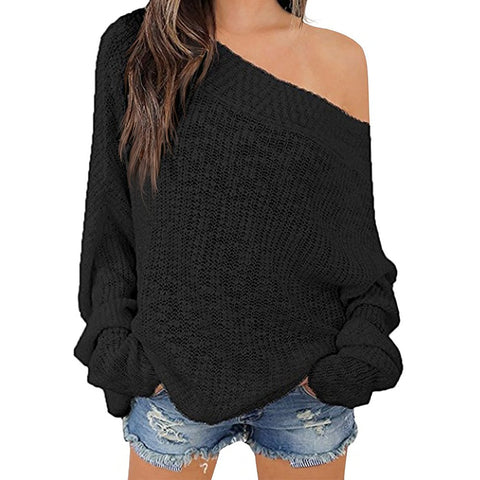 Exlura Women's Off Shoulder Batwing Sleeve Loose Oversized Pullover Sweater Knit Jumper