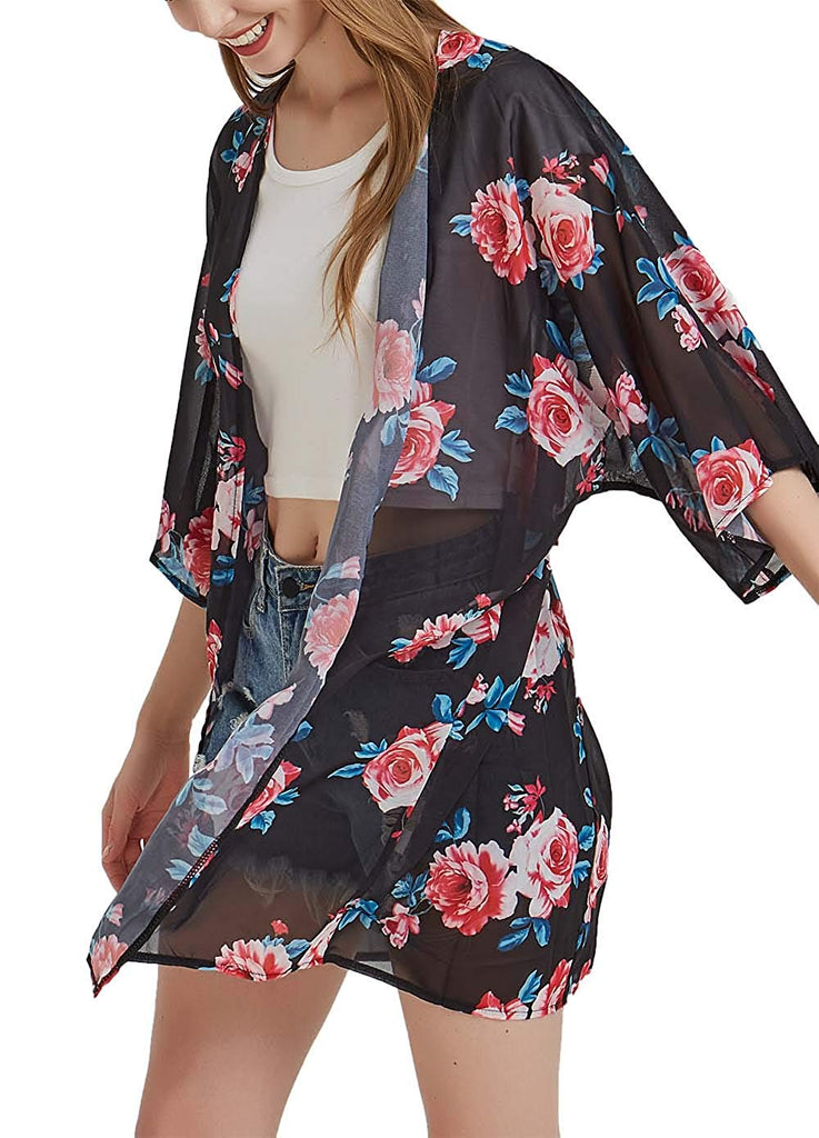 Women's Floral Chiffon Kimono Cardigan Summer Beachwear Swimsuit Cover up Multicolored S-3XL