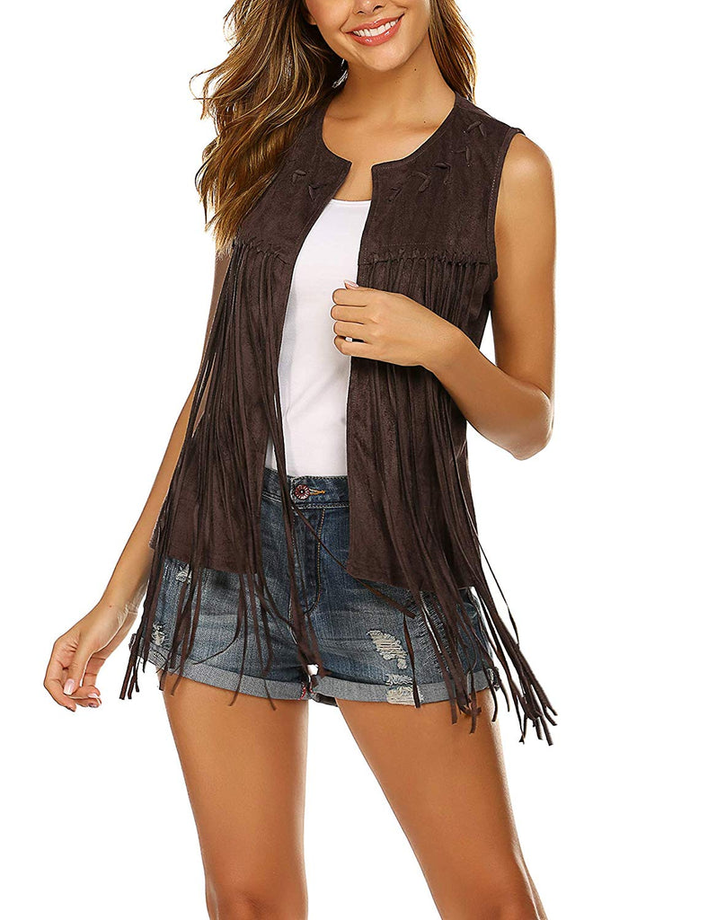Women Fringe Vest Faux Suede Tassels 70s Hippie Clothes Open-Front Sleeveless Vest Cardigan Female