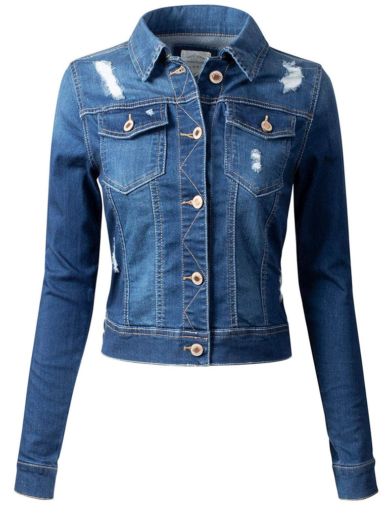 Women's Classic Casual Vintage Denim Jean Jacket/Vest