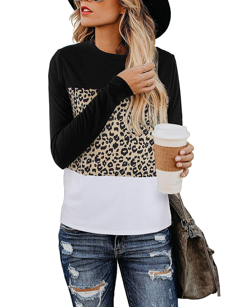 Women's Casual Cute Shirts Leopard Print Tops Basic Short Sleeve Soft Blouse