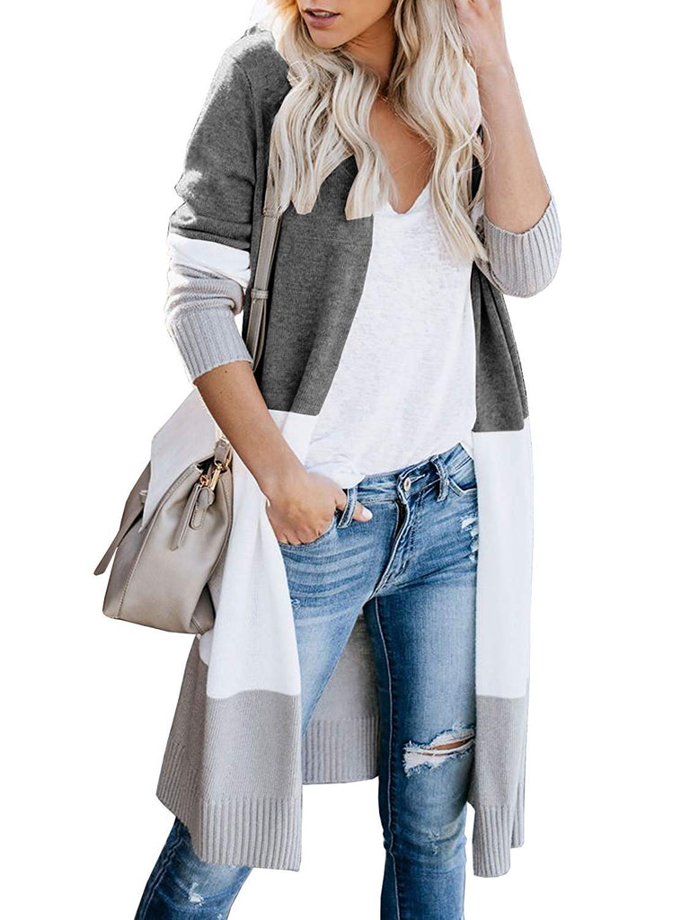 Womens Boho Open Front Cardigan Colorblock Long Sleeve Loose Knit Lightweight Sweaters