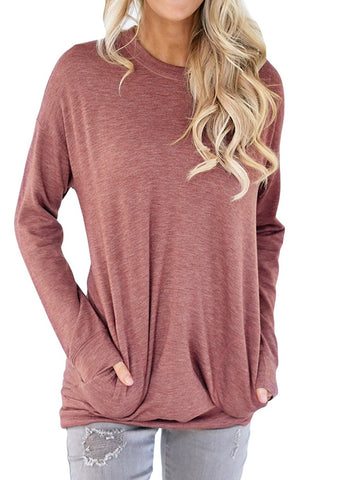 Shawhuwa Womens Long Sleeve Sweatshirt Loose T-Shirt Blouses Tops