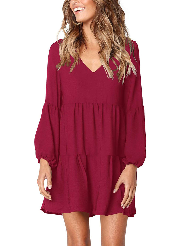 Women Summer Tunic Dress V Neck Casual Loose Flowy Swing Shift Dresses