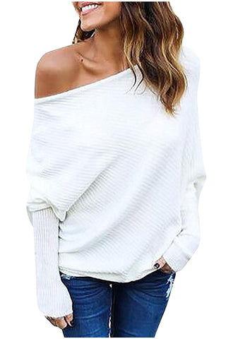 Kumer Women's Off Shoulder Sweater Batwing Sleeve Loose Pullover Solid Sweater Knit Jumper Tops