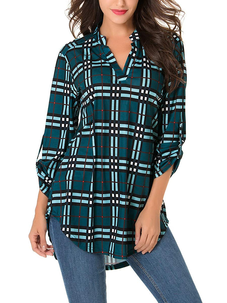 Women Roll-Up 3/4 Sleeve Plaid Shirt Tunic V Neck Casual Pullover Blouses Tops