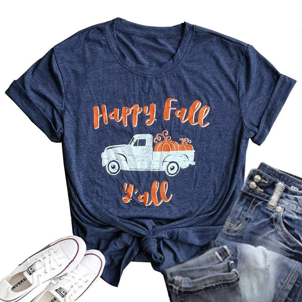 Meet Me at The Pumpkin Patch Letter Print T Shirt Women Casual Graphic V-Neck Short Sleeve Fall Tops Tee