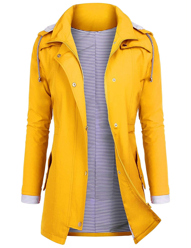 Rain Jackets Women Lightweight Raincoat Striped Lined Waterproof Windbreaker Active Outdoor Hooded Trench Coats