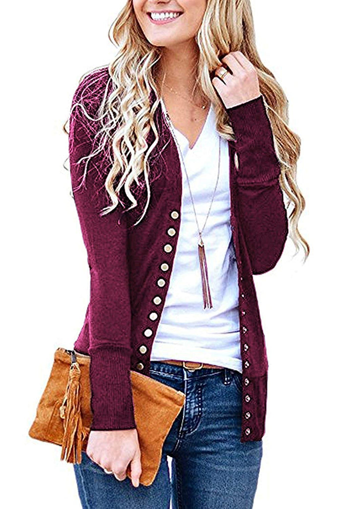 Women's S-3XL Solid Button Front Knitwears Long Sleeve Casual Cardigans