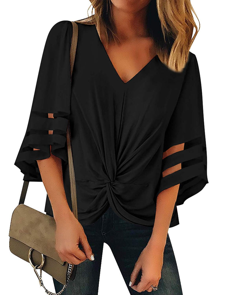Women's Casual 3/4 Tiered Bell Sleeve Crewneck Loose Tops Blouses Shirt