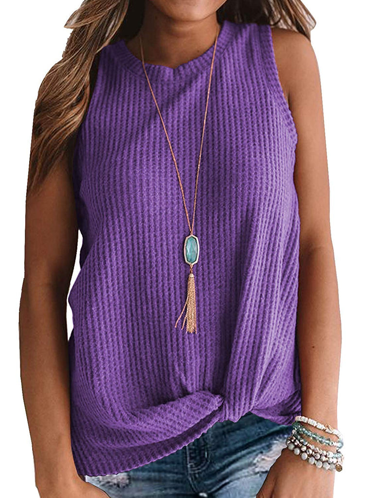 Womens Casual Tops Sleeveless Cute Twist Knot Waffle Knit Shirts Tank Tops