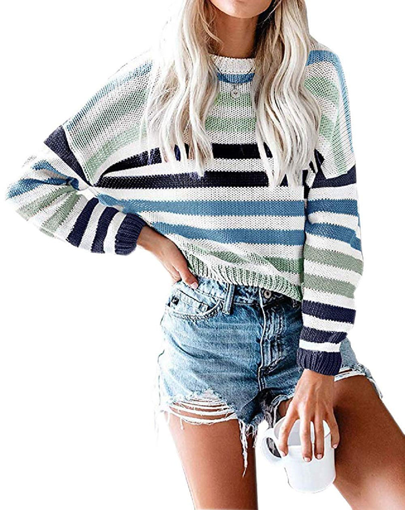 Women Sweaters Long Sleeve Crew Neck Color Block Striped Oversized Casual Knitted Pullover Tops