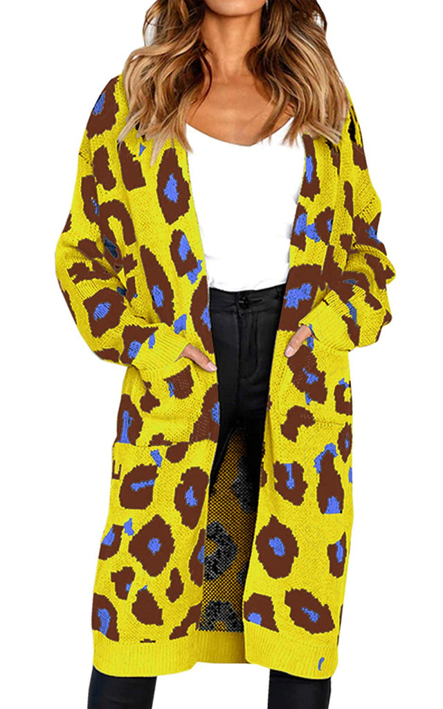 Women's Long Sleeves Leopard Print Knitting Cardigan Open Front Warm Sweater Outwear Coats with Pocket