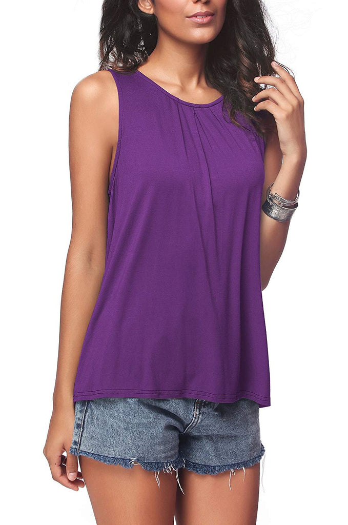 Women's Summer Sleeveless Pleated Back Closure Casual Tank Tops