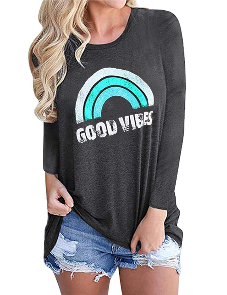 Women Good Vibes Blouse Hoodies Long Sleeve Casual Fall Tops Graphic Tee Shirt Sweaters for Women