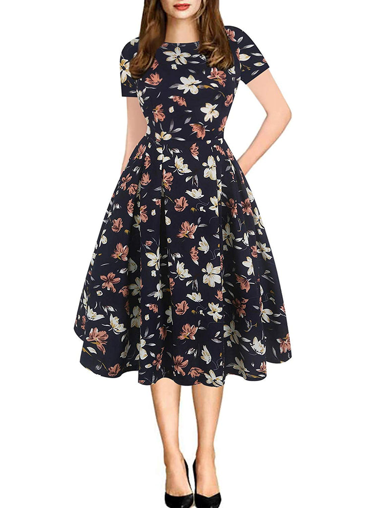 Women's Vintage Patchwork Pockets Puffy Swing Casual Party Dress