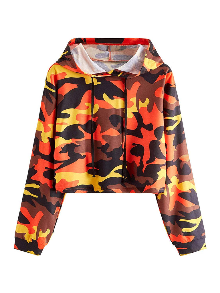 Women's Long Sleeve Casual Printed Sweatshirt Crop Top Hoodies
