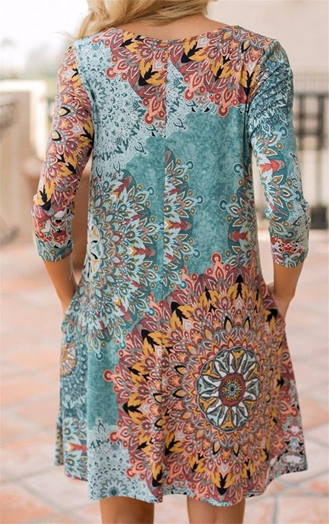 Long Sleeve Floral Printed Casual Swing T-shirt Dress With Pockets