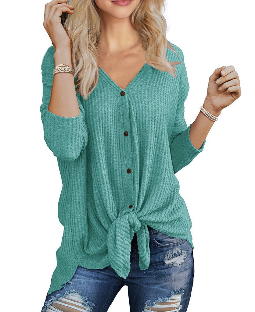 Womens Waffle Knit Tunic Blouse Tie Knot Henley Tops Loose Fitting Bat Wing Plain Shirts