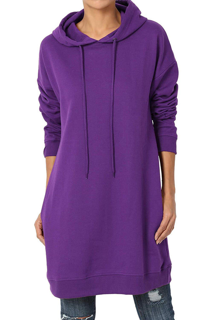 S~3X Basic Loose Fit Pocket Pullover Hoodie Long Tunic Sweatshirts