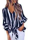 Womens Striped Off The Shoulder Tops 3 4 Flare Sleeve Tie Knot Blouses and Tops