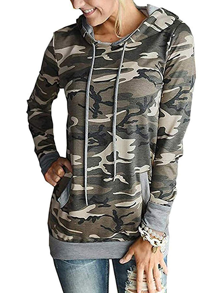 Women's Casual Hoodies Long Sleeve Sweatshirts Cowl Neck Drawstring Hooded Pullover Top with Pockets