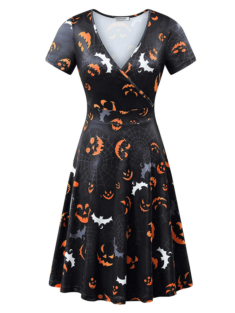Short Sleeve Wrap V Neck Casual A Line Halloween Dress