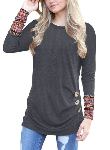 Ours Women's Casual Long Sleeve Round Neck Solid Loose Tunic T Shirt Blouse Tops
