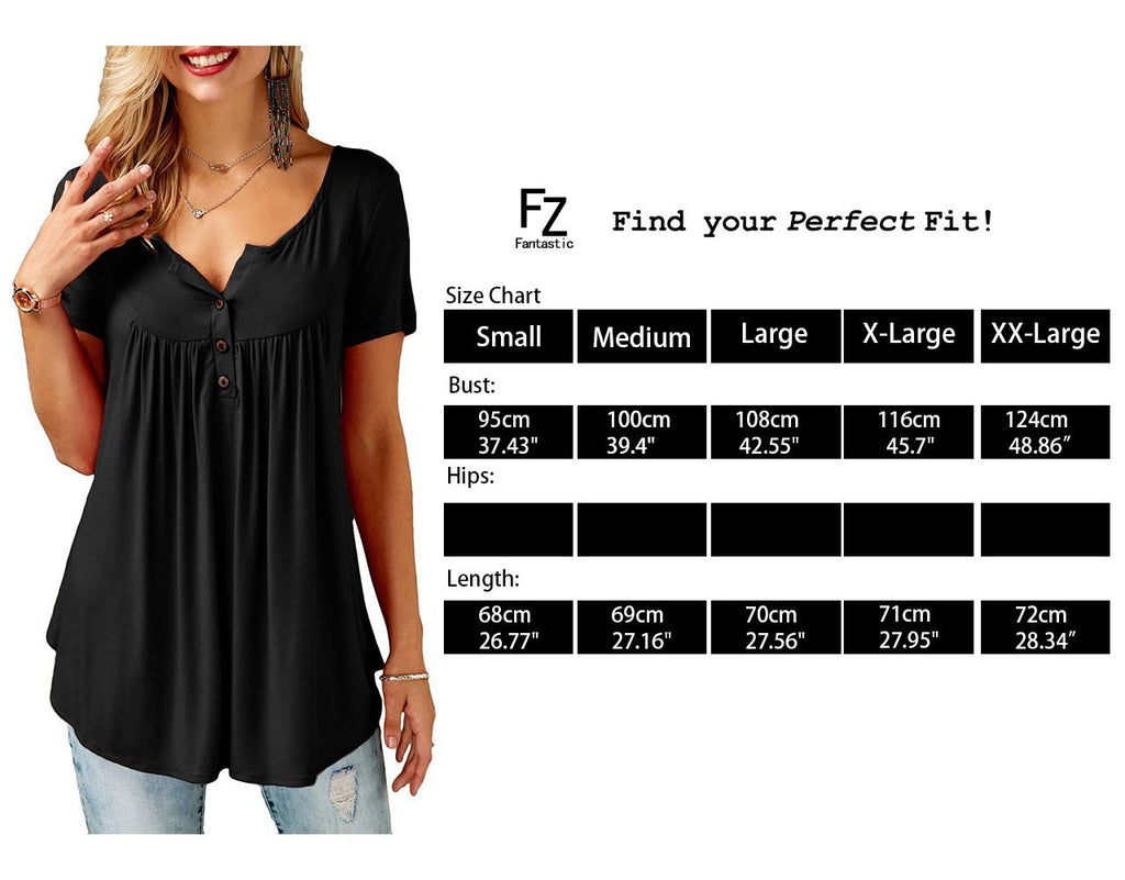 Women's Button up Short Sleeve T-Shirt Casual Blouse Tunic Tops