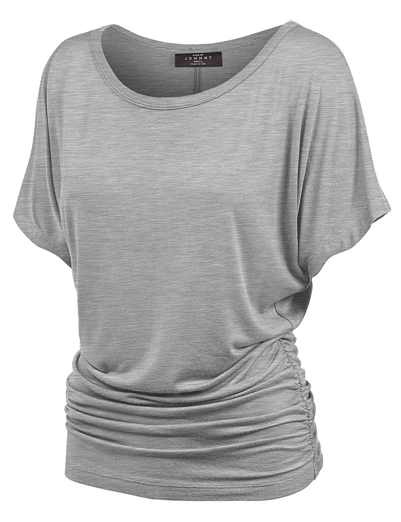 Women's Solid Short Sleeve Boat Neck V Neck Dolman Top with Side Shirring-Made in U.S.A.