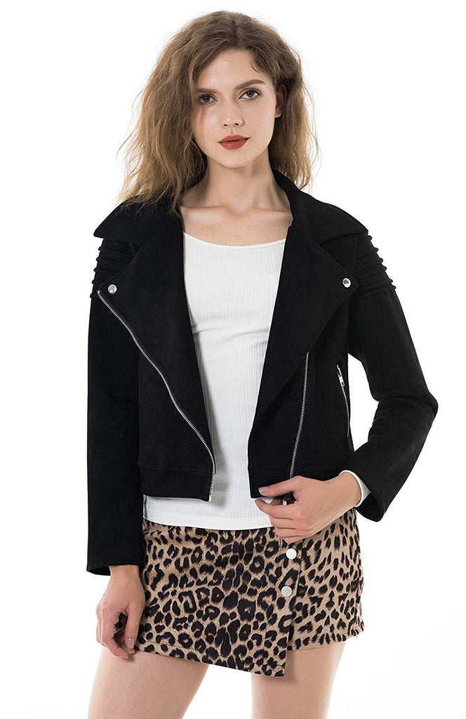 Faux Suede Jackets for Women Long Sleeve Zipper Short Moto Biker Coat