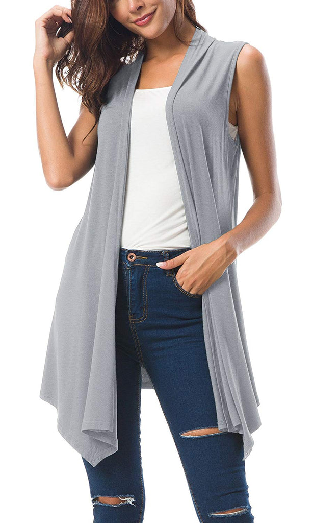 Women's Sleeveless Draped Open Front Cardigan Vest Asymmetric Hem