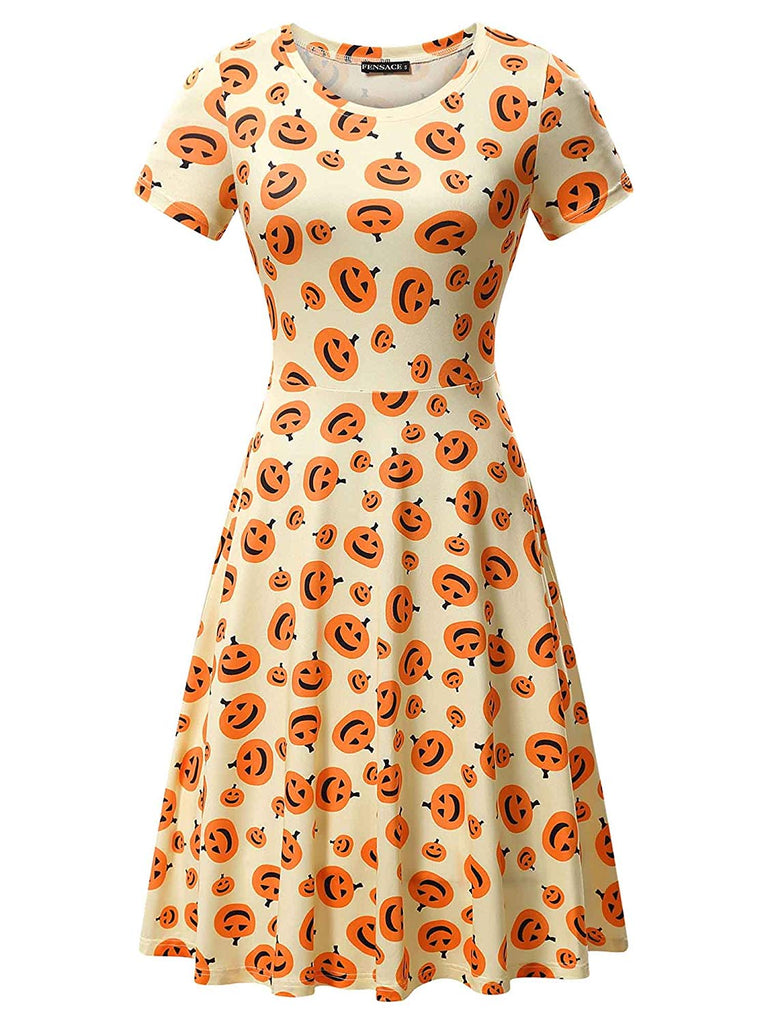 Womens Short Sleeves Casual Halloween Pumpkin Dress