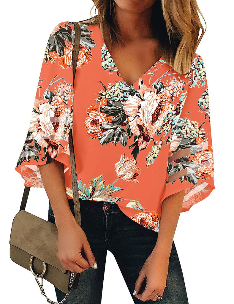 Women's V Neck Mesh Panel Blouse 3/4 Bell Sleeve Loose Top Shirt