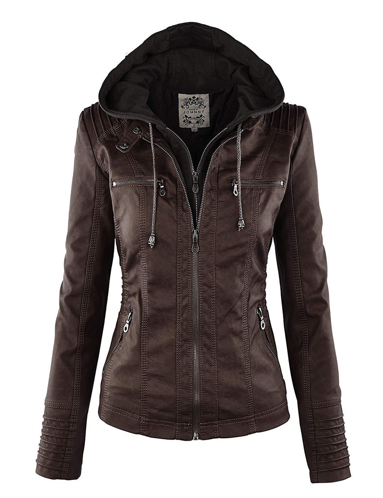 Womens Hooded Faux leather Jacket