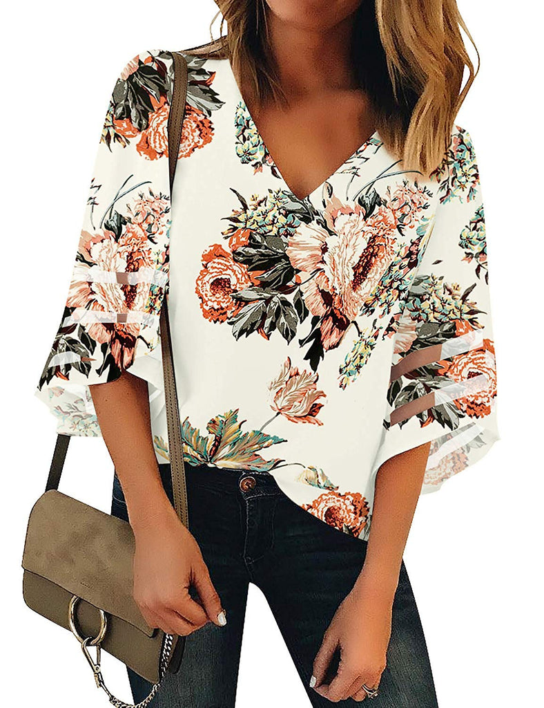 NREALY Chaleco Women V Neck Mesh Panel Blouse 3//4 Bell Sleeve Casual Loose Top Shirt Blouse