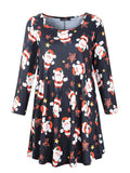 Women's Plus Size Swing Tunic Top 3/4 Sleeve Floral Flare T-Shirt