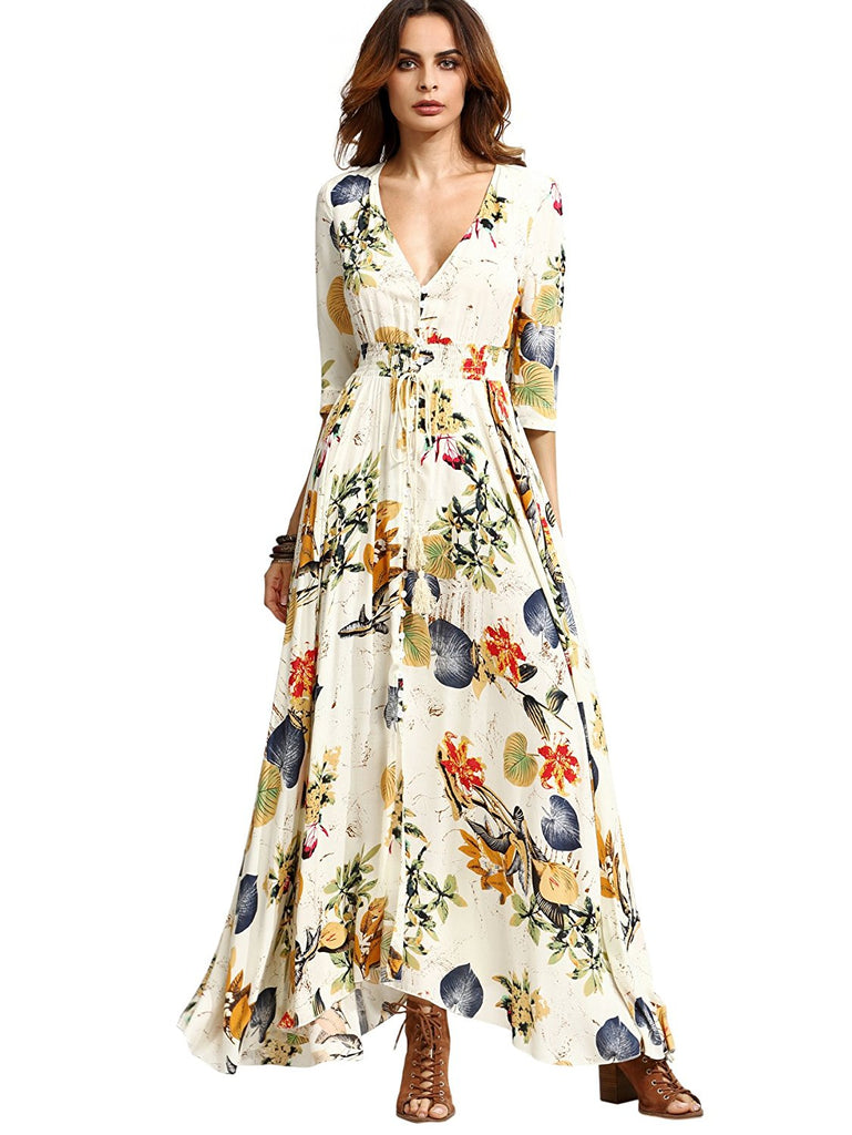 05b0c6136b Milumia Women's Button Up Split Floral Print Flowy Party Maxi Dress ...