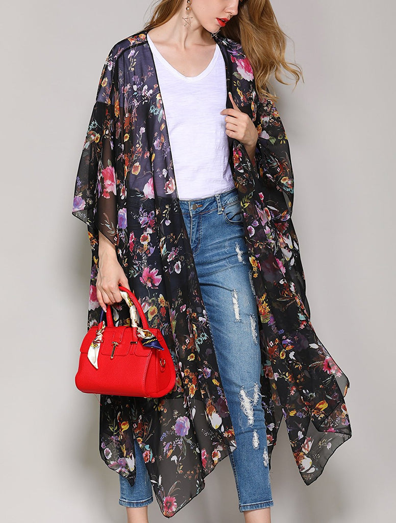 Women's Sheer Chiffon Floral Kimono Cardigan Long Blouse Loose Tops Outwear