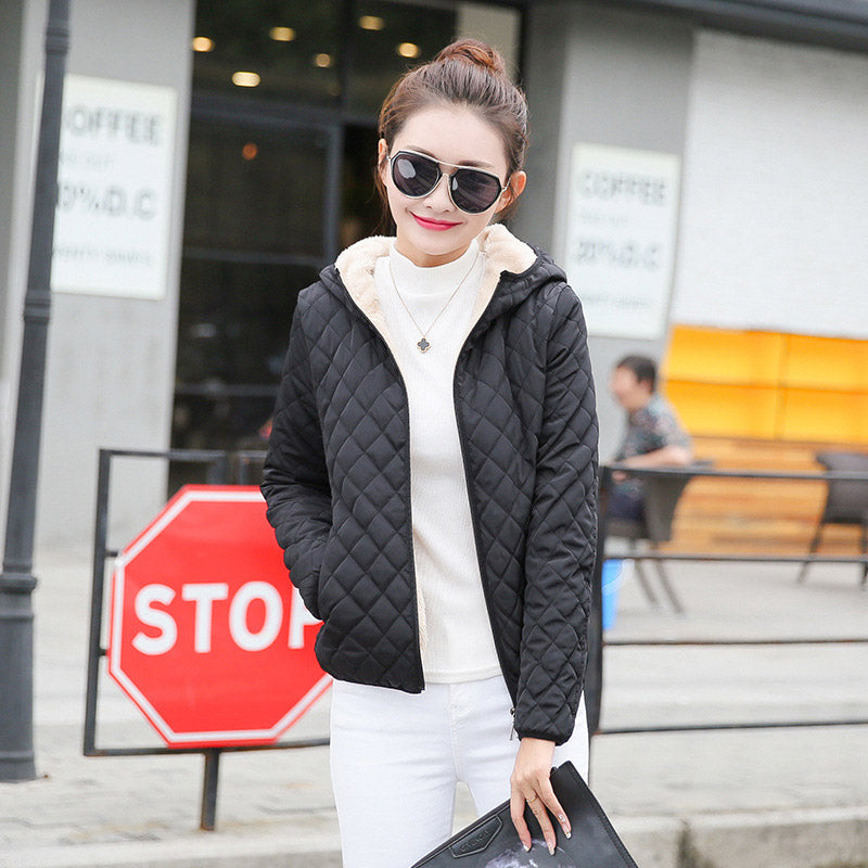 Women's Parkas jackets velvet lamb hooded Coats Cotton Winter Jacket Outwear