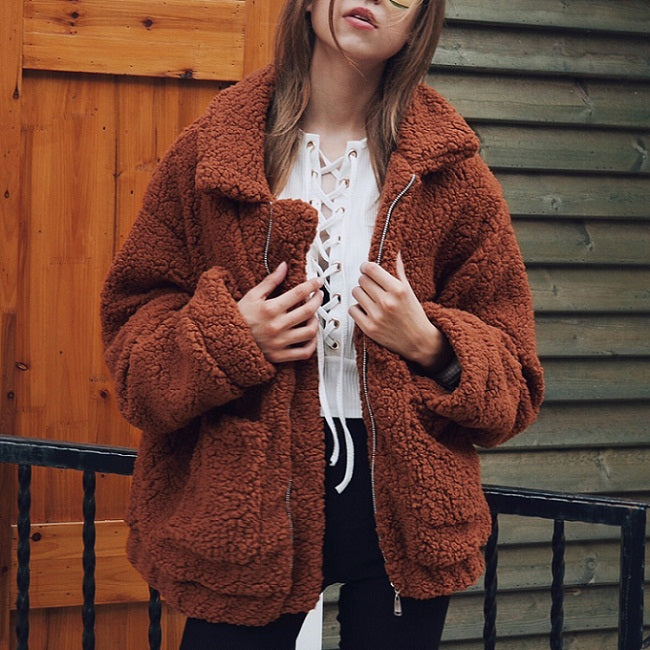 Elegant Faux Fur Coat Warm Soft Zipper Jacket Plush Overcoat