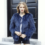 Furry Fur Coat Women Fluffy Warm Long Sleeve Outerwear Autumn Winter Coat Jacket Hairy Collarless Overcoat Plus Size