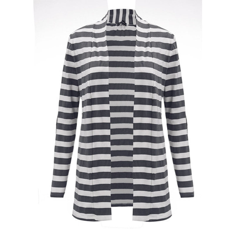 Autumn Outerwear Women Long Sleeve Striped Printed Cardigan Casual Elbow Patchwork Knitted Sweater