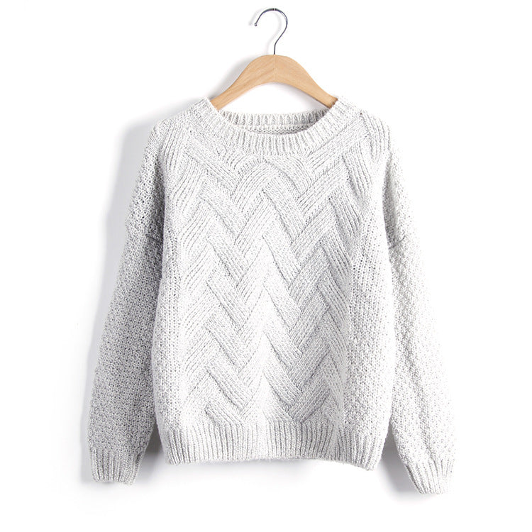 Winter Women Sweaters And Pullovers Plaid Thick Knitting Mohair Sweater Female Loose Variegated