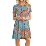 Women's Summer Casual Tshirt Dresses Short Sleeve Boho Beach Dress