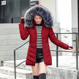 Womens Wadded Jackets Outwear With a Hood Large Faux Fur Collar